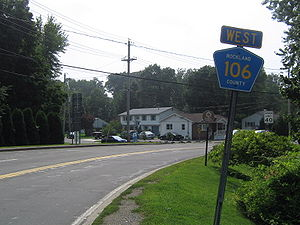 County Route 106 (Rockland County, New York) - CR 106 begins here in Stony Point, and heads east providing an intersection with the Palisades Parkway.