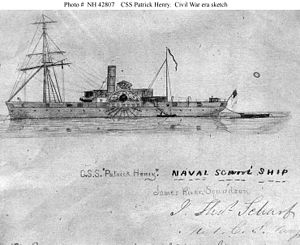 CSS Patrick Henry - A sketch of the CSS Patrick Henry signed by Midshipman J.Thomas Scharf.