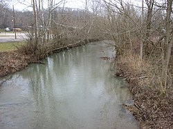 The Camp Fork, a stream that has played a destructive role in the community's history