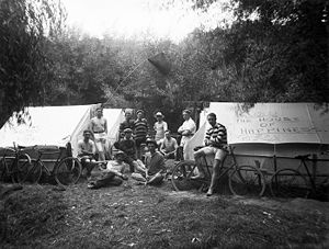 Camping in New Zealand - A group of men camping in New Zealand circa 1910.