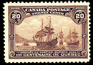 Jacques Cartier - The Fleet of Cartier was commemorated on a 1908 Canadian postage stamp.