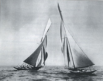 Canada's Cup - The yacht Canada (left) skippered by Aemilius Jarvis crosses tacks with Vencedor on Lake Erie near Toledo, Ohio, in the 1896 Canada's Cup match-racing series from which Canada emerged the victor.
