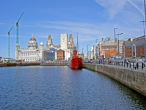 Grade II listed buildings in Liverpool-L3 - Canning Dock showing retaining walls