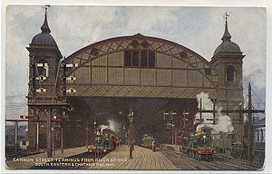 Cannon Street station - Original station viewed from the railway bridge, c. 1910