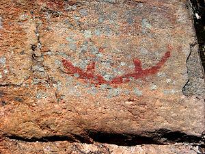 Quetico Provincial Park - Canoe pictograph, Agnes Lake