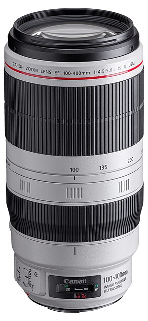 Canon EF 100–400mm lens - Image: Canon EF 100 400mm f 4.5 5.6L IS II USM front angled