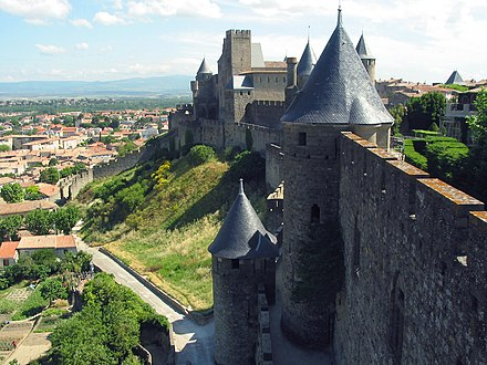 An imported idiom: Viollet-le-Duc's slate-covered conical towers at Carcassonne Carcassonne JPG03.jpg