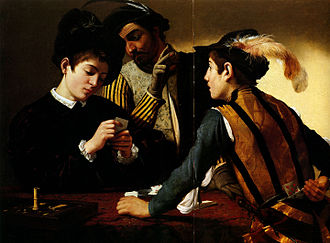 Pentimento - Caravaggio, The Cardsharps in the Kimbell Art Museum, Fort Worth.