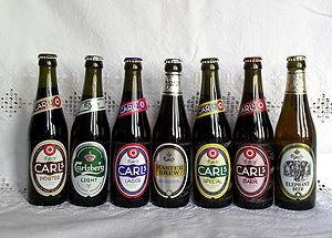 Carlsberg beers. From left: Carls porter, Carl...