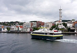 Leirvik - View of the town harbor area