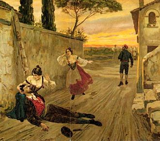 Cavalleria rusticana - Illustration from an early edition of Giovanni Verga's short story Cavalleria rusticana, on which the opera is based