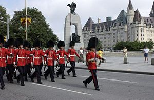 Guard mounting - Canadian Grenadier Guards during the changing of the guard ceremony in Ottawa.