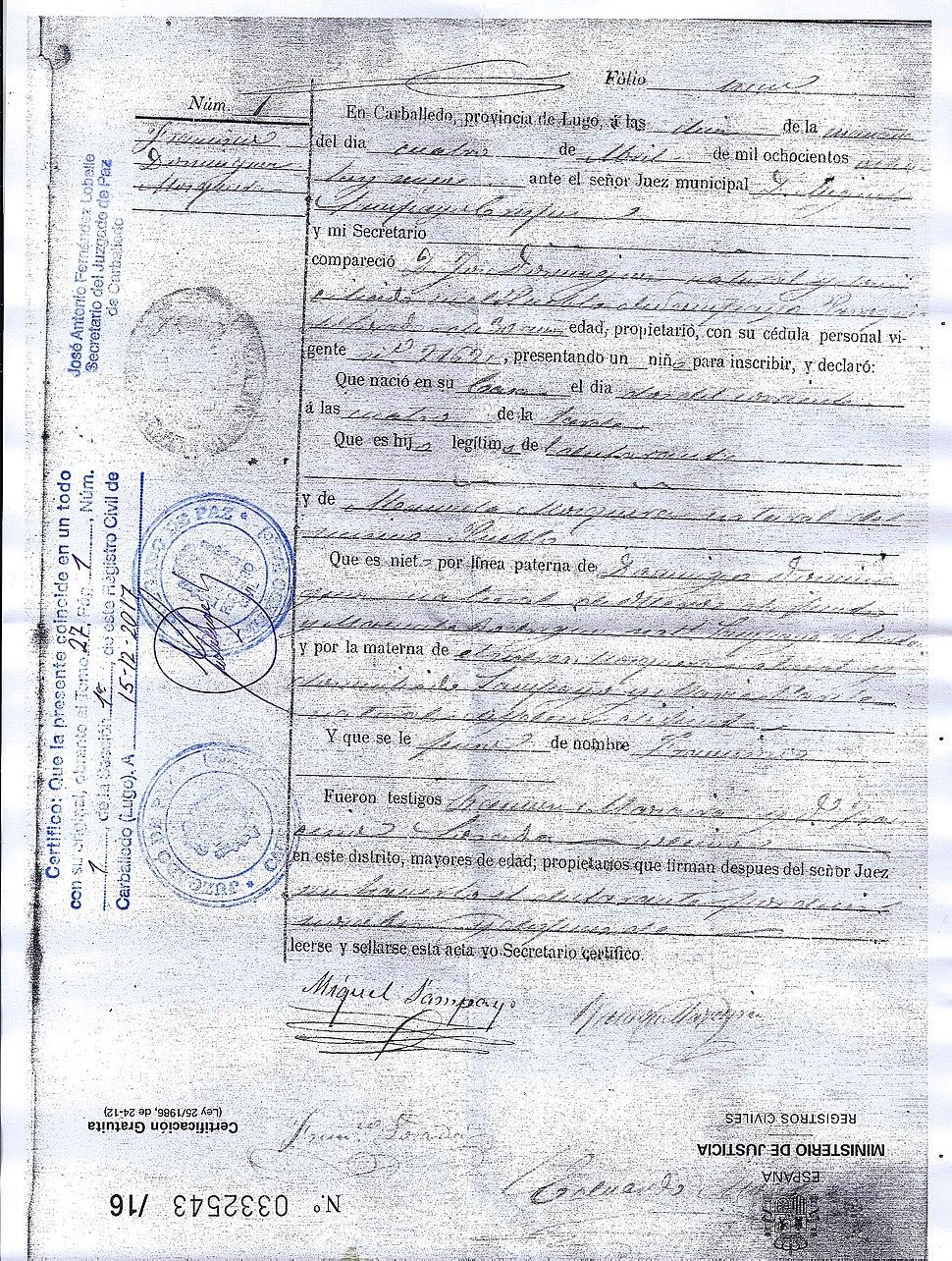 Certificado de nacemento.