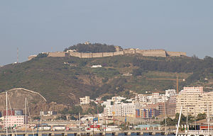 Monte Hacho - Monte Hacho, with Ceuta harbour in the foreground. Fortaleza de Hacho can be seen at the top of the hill.