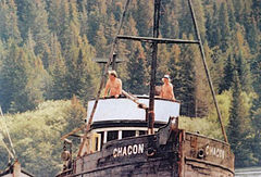 Thillman and Art Wallace aboard the Chacon being towed to Anchorage.