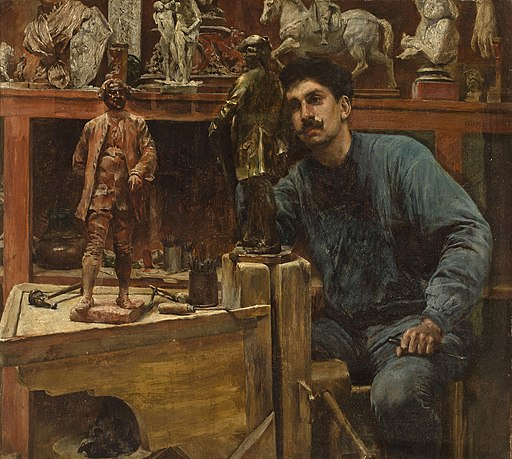 Charles Frederic Ulrich - Sculptor in Studio