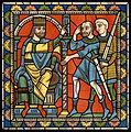 Chartres VITRAIL DE LA VIE DE JÉSUS-CHRIST Motiv 13 Hérode ordonnant aux soldats de massacrer les enfants.jpg