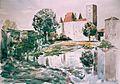 Chateau de Nemours et le Loing aquarelle par LEON VAN DIEVOET 1975 (46cm x 61).jpg