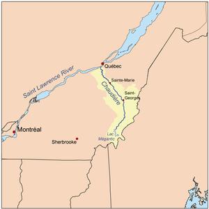 Chaudière River - Image: Chaudiererivermap