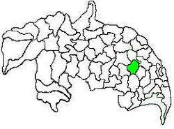 Mandal map of Guntur district showing Chebrolu mandal (in green)