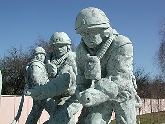 Chernobyl liquidators - Part of a monument to the liquidators near the Chernobyl site