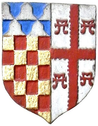 John Chichester (died 1569) - Heraldic escutcheon on the monument to Sir John Chichester (died 1569) of Raleigh in Pilton Church, Devon. Showing arms of Chichester impaling Bourchier (Argent, a cross engrailed gules between four water bougets sable, here restored incorrectly as gules), representing the marriage of his parents