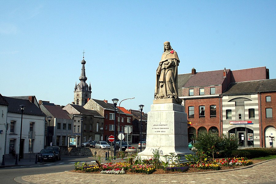 Chimay  (Belgium), Place Froissart - Statue of Jehan Froissart (1337-1404).