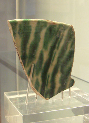 Samarra - Chinese-made sancai pottery shard, 9-10th century, found in Samarra, an example of Chinese influences on Islamic pottery. British Museum.