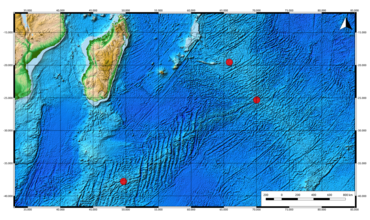 Bathymetric map of southeastern Indian Ocean showing three localities.