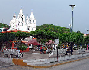 Town square in Cihuatlán, showing church building and plaza