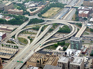 Grade separation - An example of the potential complexity of grade separation, seen in the Circle Interchange in Chicago