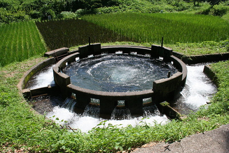 A circular irrigation water distributor in Taketa, Oita Prefecture, Japan.