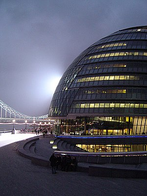 Local government in London - City Hall at night, the headquarters of the GLA.