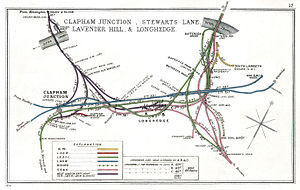 Chelsea & Fulham railway station - Image: Clapham Junction, Stewarts Lane, Lavender Hill & Longhedge RJD 17