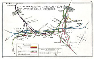 London Victoria station - The approaches to Victoria Station in 1912. The line leading to the station is top right, the 'Brighton line' (shown in green) is bottom left and the 'Chatham line' (pink) bottom right. The connection to the GWR and LNWR (purple) is top left.