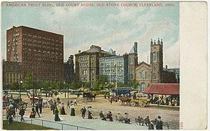Old Stone Church (Cleveland, Ohio) - Old Stone Church on Public Square circa 1920