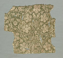 Silk fragment with scrolling vines, grape leaves, grapes and birds