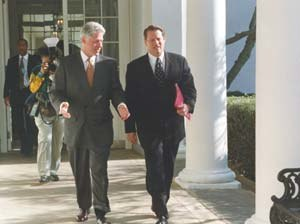 Vice presidency of Al Gore - Vice President Gore with President Bill Clinton walking along a colonnade at the White House