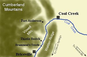 Coal Creek War - Image: Coal creek war map tn 1