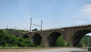 High Bridge (Coatesville, Pennsylvania) - View of the bridge from the southeast side.