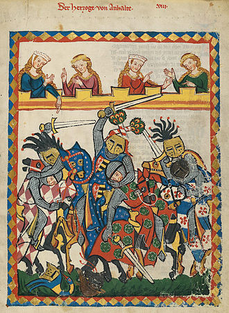 Tournament (medieval) - Depiction of mounted combat in a tournament from the Codex Manesse (early 14th century)