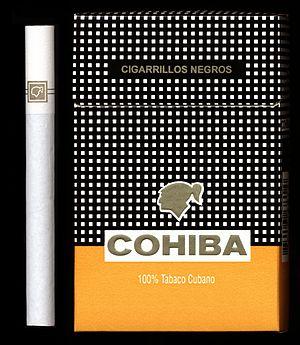 Cohiba (cigarette) - Image: Cohiba cigarette and box