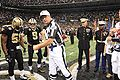 Coin toss at Saints Military Appreciation Game 2009-11-02 4.JPG