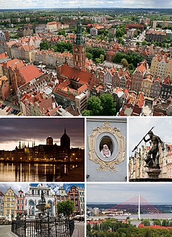 Collage of views of Gdańsk. Top: View of Central Gdańsk and Main City Hall, Middle of left: Old Town and Motlawa River in night, Centre: The Maiden in the Window in Mariacka Street, Middle of right: Fountain of Neptune Statue at Long Market Street, Bottom left: Neptune statue in front of Artus Court in Long Market Street, Bottom right: Third Millenium John Paul Ⅱ Bridge