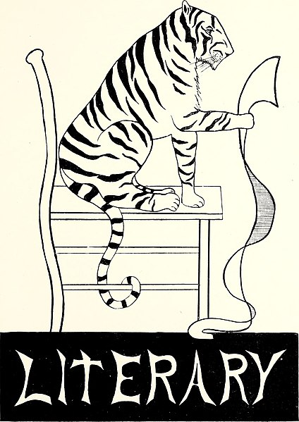 Tiger reading long scrolling paper