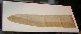 History of condoms - A condom made from animal intestine circa 1900.