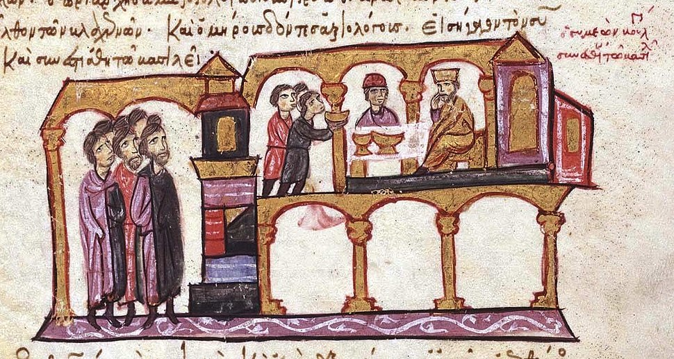 Constantine VII dining with Tsar Symeon of Bulgaria