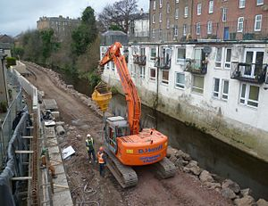 Bonnington, Edinburgh - Construction of flood defences, 2012