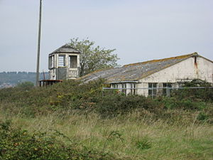 RAF Weston-super-Mare - The derelict airfield control tower photographed in 2007