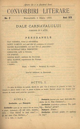 Convorbiri Literare - First page, 1 May 1885